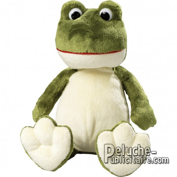 Sitted frog personalized plush toy with logo.