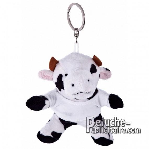 Achat Peluche Porte-clés Vache 9 cm. Peluche Publicitaire Vache à Personnaliser. Ref:XP-1187