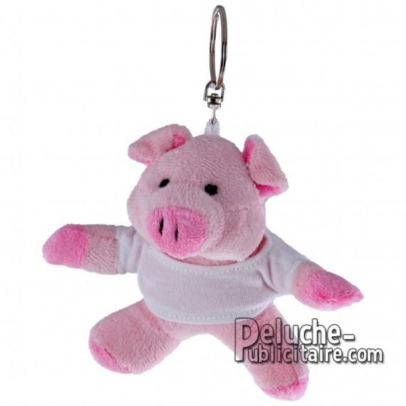 Achat Peluche Porte-clés Cochon 10 cm. Peluche Publicitaire Cochon à Personnaliser. Ref:XP-1196