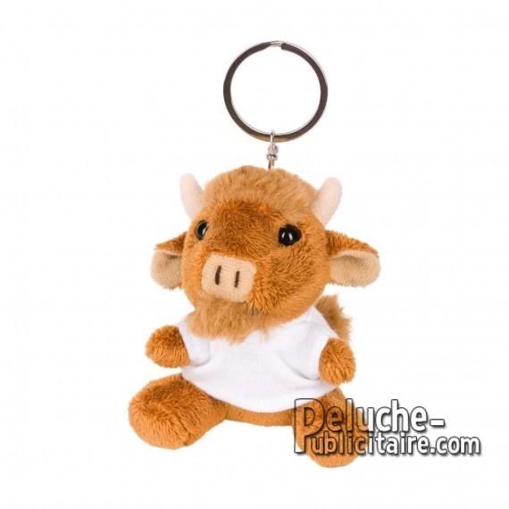 Achat Peluche Porte-clés taureau 8 cm. Peluche Publicitaire taureau à Personnaliser. Ref:XP-1268