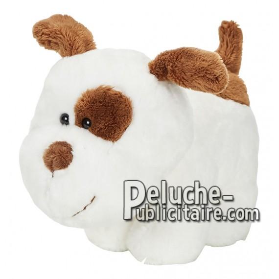 Achat peluche chien blanc 15cm. Peluche personnalisée.