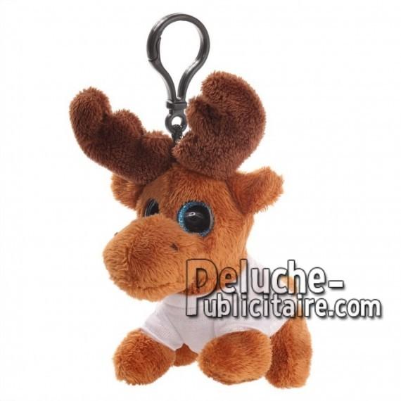 Achat peluche porte-clés renne marron 12cm. Peluche personnalisée.