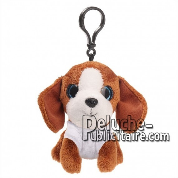 Achat peluche porte-clés chien marron 10cm. Peluche personnalisée.