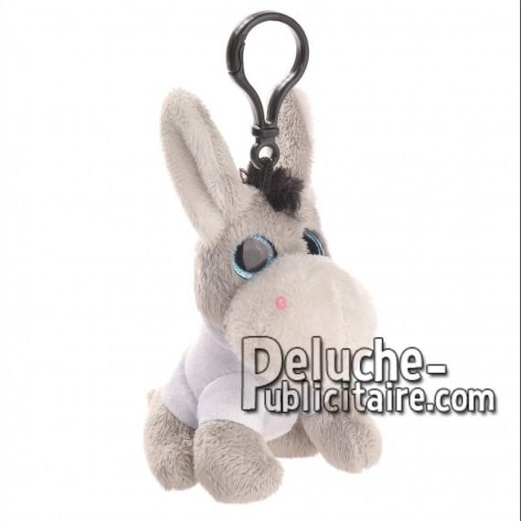 Achat peluche porte-clés âne gris 12cm. Peluche personnalisée.
