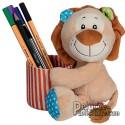 Peluche personnalisée goodies pot de crayon lion.