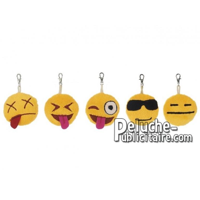 Achat porte-clés smiley jaune 6cm. Peluche personnalisée.