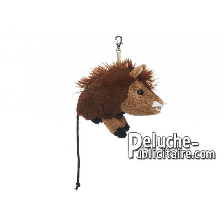 Achat porte-clés sanglier marron 10cm. Peluche personnalisée.