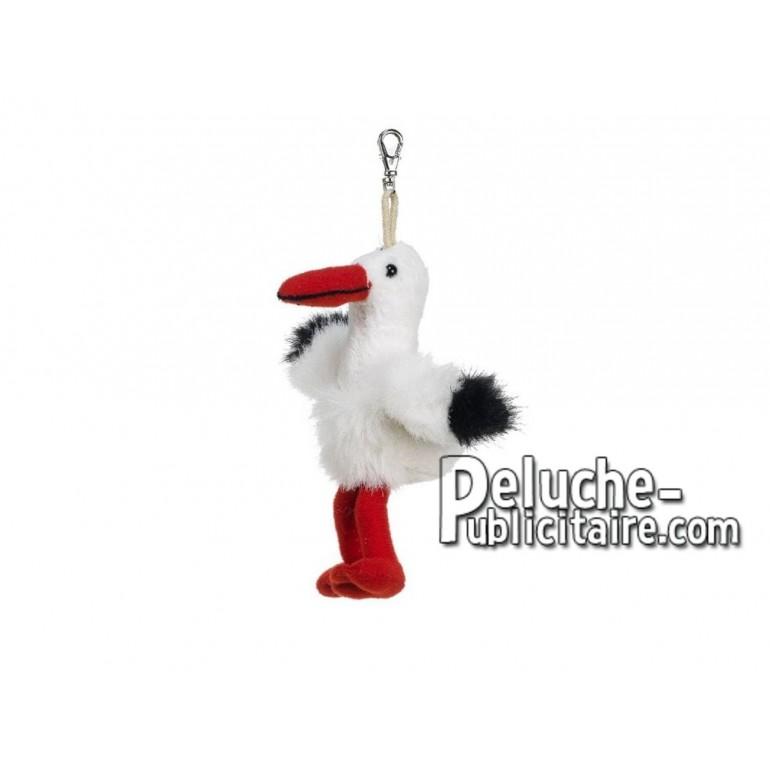 Achat porte-clés cigogne blanc 10cm. Peluche personnalisée.