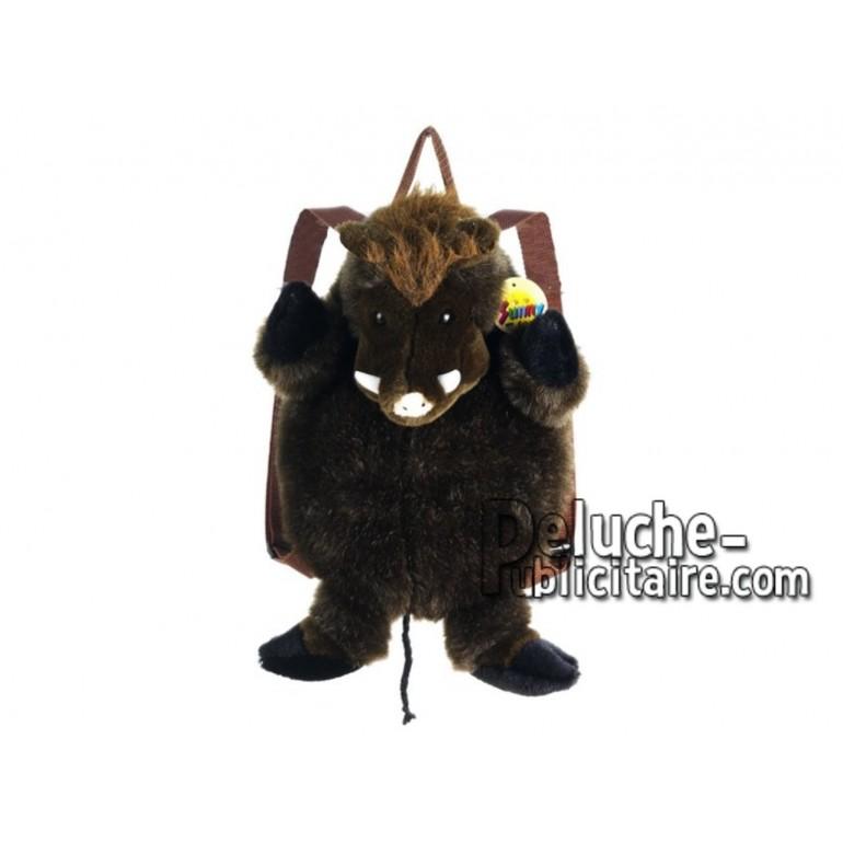 Achat sac à dos sanglier marron 36cm. Peluche personnalisée.