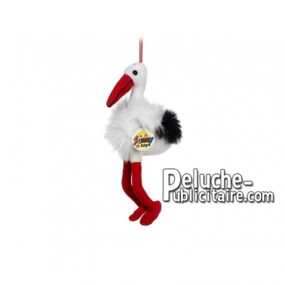 Achat peluche cigogne blanc 27cm. Peluche personnalisée.