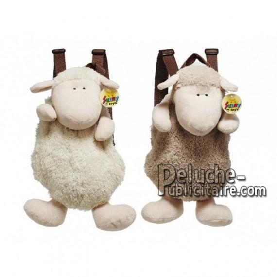 Achat sac à dos mouton beige 33cm. Peluche personnalisée.