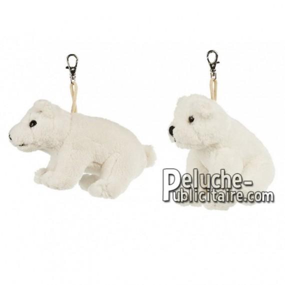 Achat porte-clés ours polaire blanc 11cm. Peluche personnalisée.
