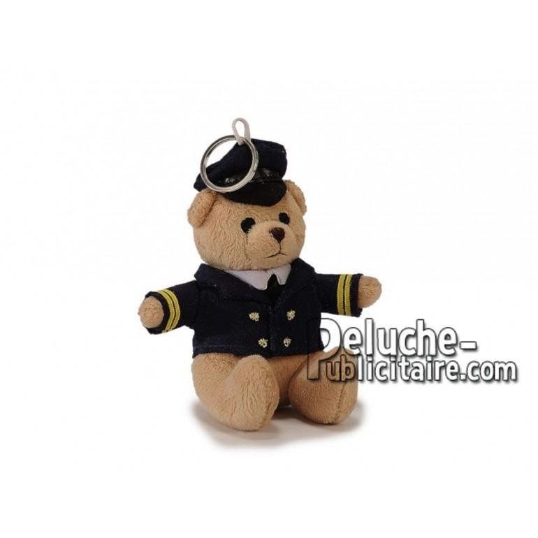 Achat porte-clés ours pilote beige 12cm. Peluche personnalisée.