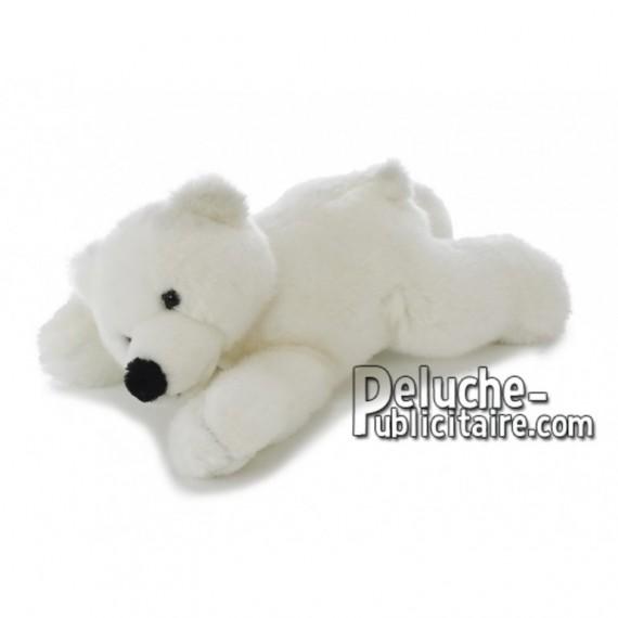 Achat peluche ours polaire allongé blanc 28cm. Peluche personnalisée.