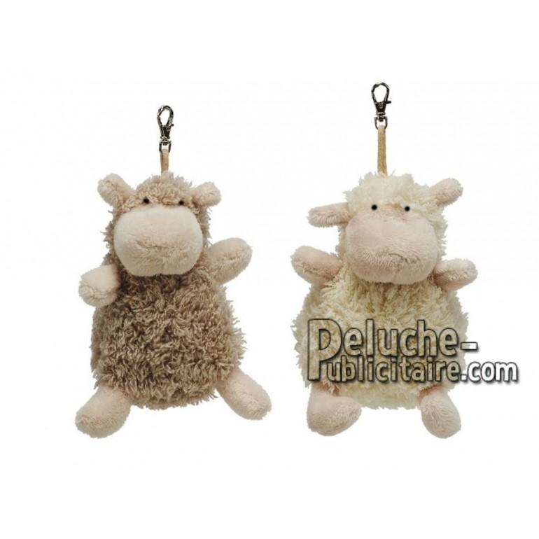 Achat porte-clés mouton blanc 10cm. Peluche personnalisée.
