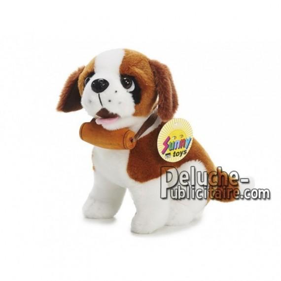 Achat peluche chien avec baril marron 18cm. Peluche personnalisée.