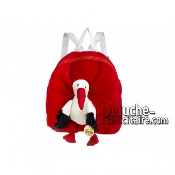 Achat sac à dos cygogne rouge 30cm. Peluche personnalisée.