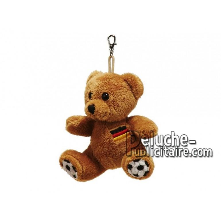 Achat porte-clés ours footballeur marron 11cm. Peluche personnalisée.