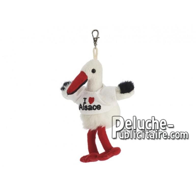 Achat porte-clés cigogne rouge 11cm. Peluche personnalisée.