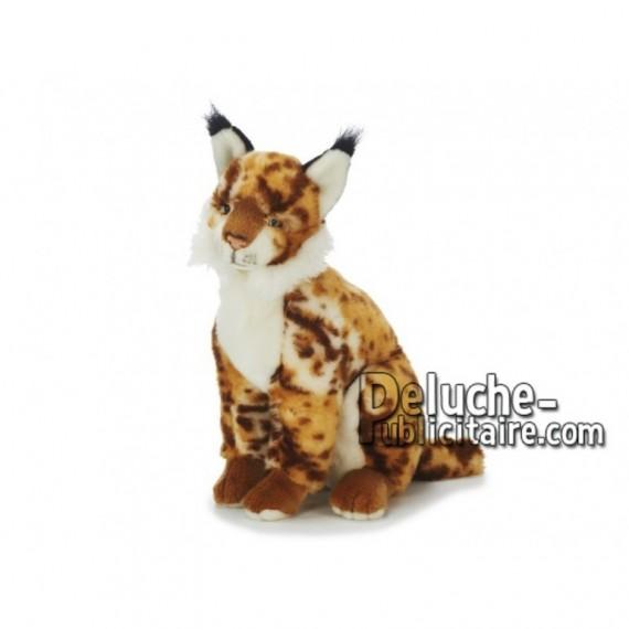 Achat peluche lynx assis multicolore 38cm. Peluche personnalisée.