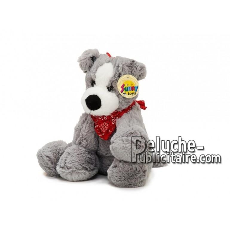 Achat peluche chien gris 25cm. Peluche personnalisée.