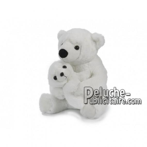 Achat peluche ours avec enfant blanc 30cm. Peluche personnalisée.