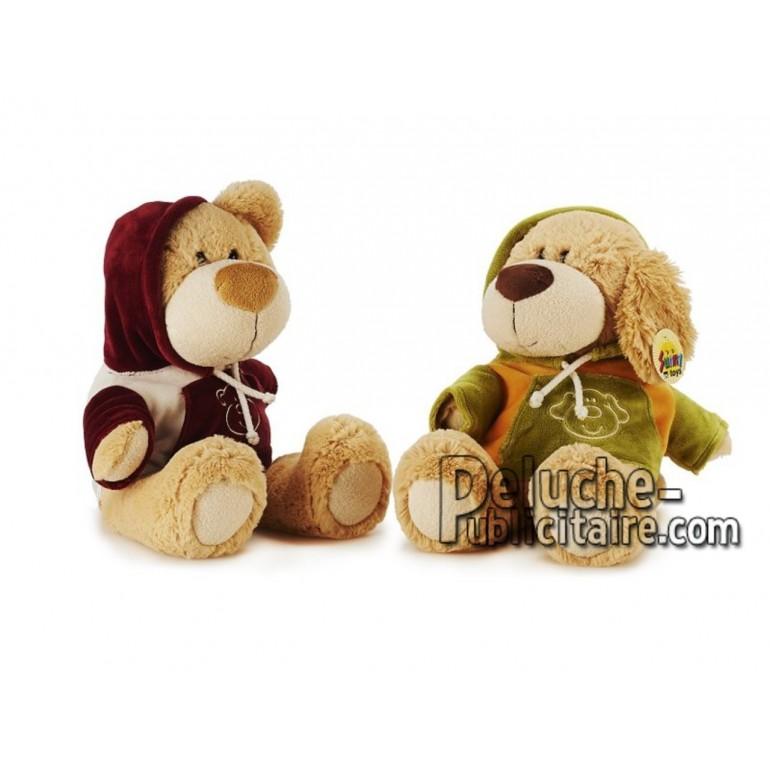 Achat peluche chien et ours beige 40cm. Peluche personnalisée.