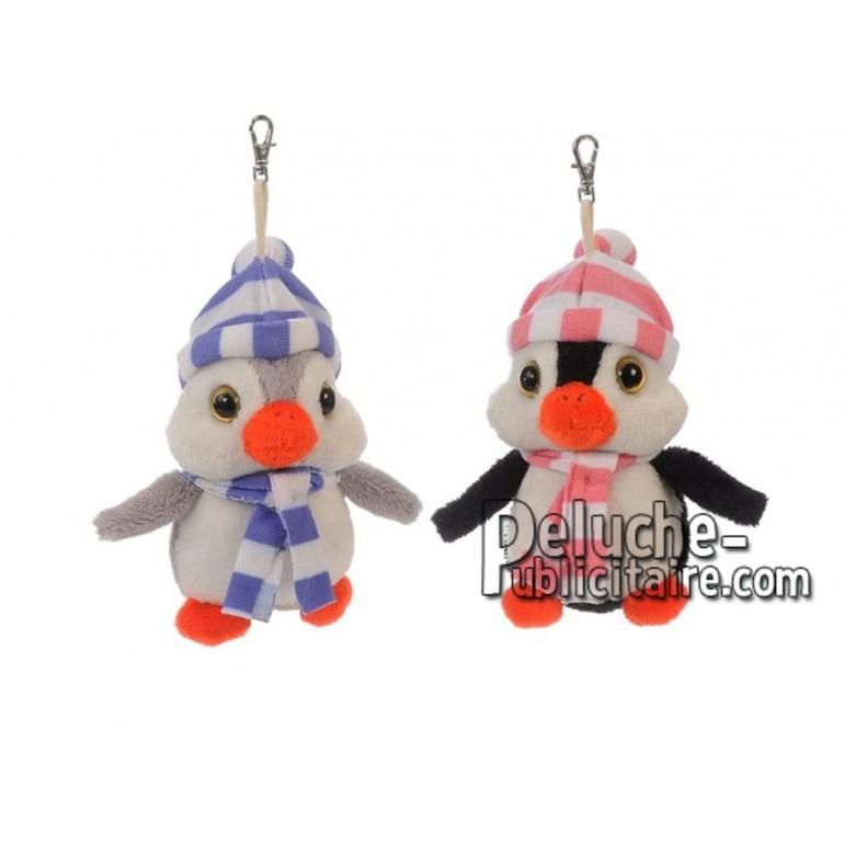 Achat porte-clés pingouin gris 10cm. Peluche personnalisée.
