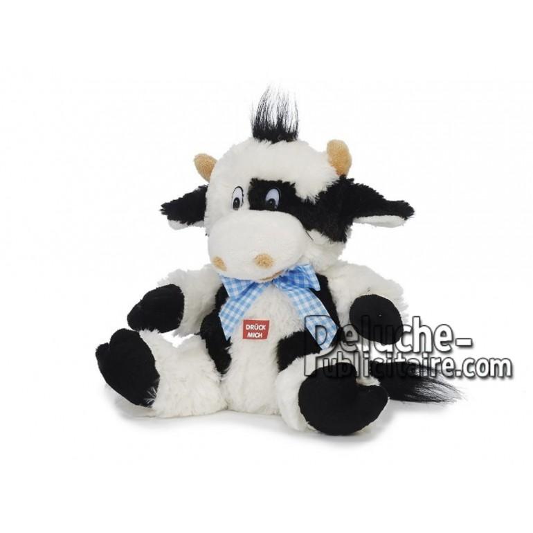 Achat peluche vache qui parle blanc 26cm. Peluche personnalisée.