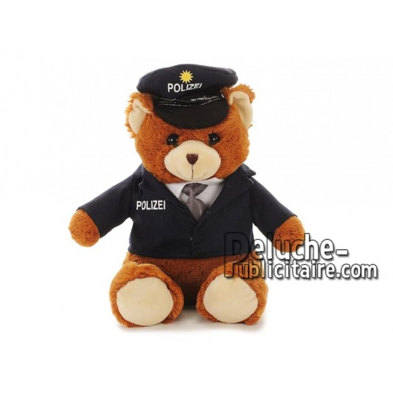 Achat peluche ours policier multicolore 27cm. Peluche personnalisée.