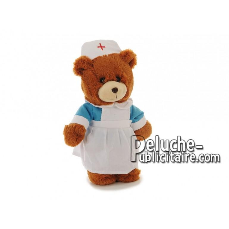Achat peluche ours infirmière multicolore 28cm. Peluche personnalisée.