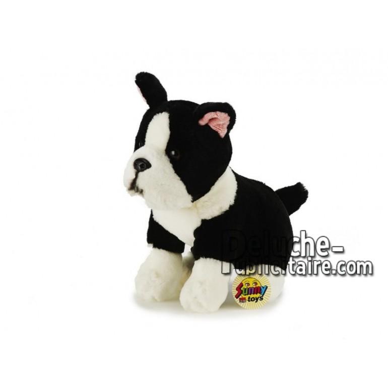 Achat peluche chien bulldog français noir 23cm. Peluche personnalisée.
