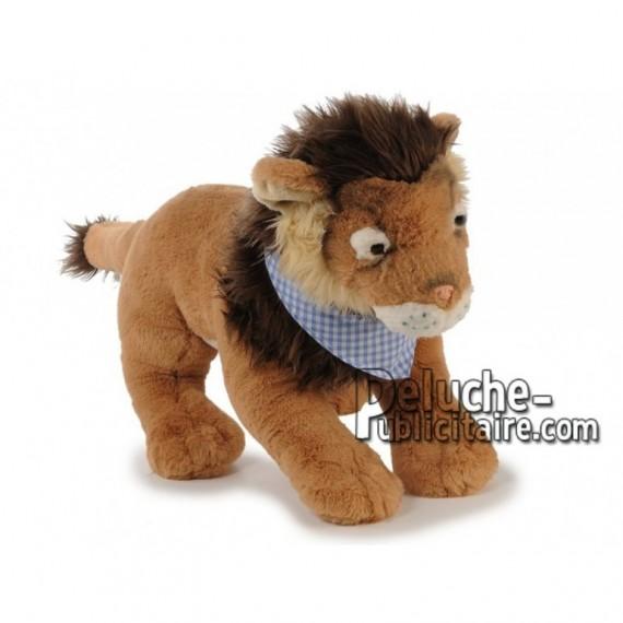Achat peluche lion avec foulard marron 50cm. Peluche personnalisée.