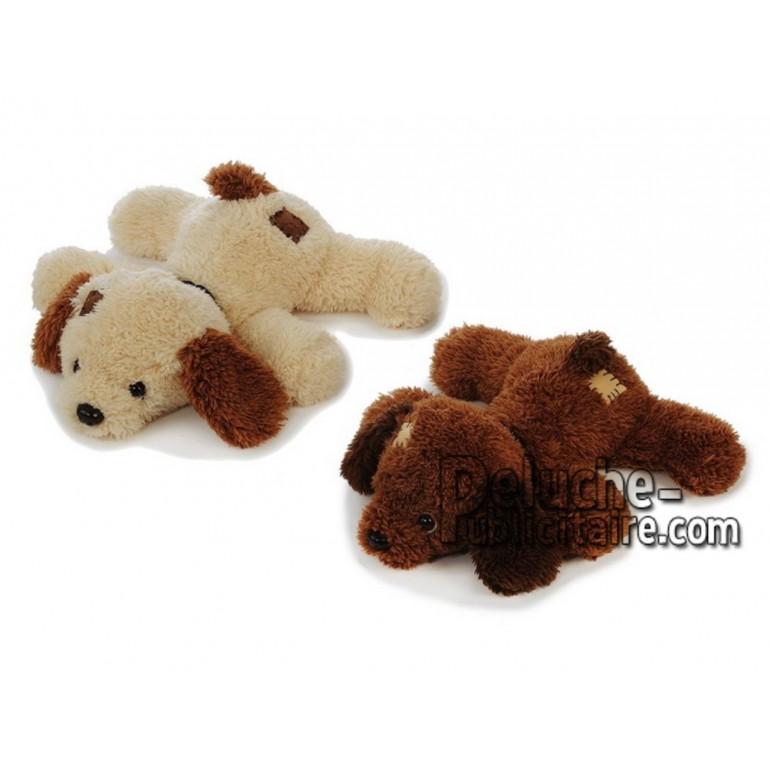 Achat peluche chien couché marron 33cm. Peluche personnalisée.