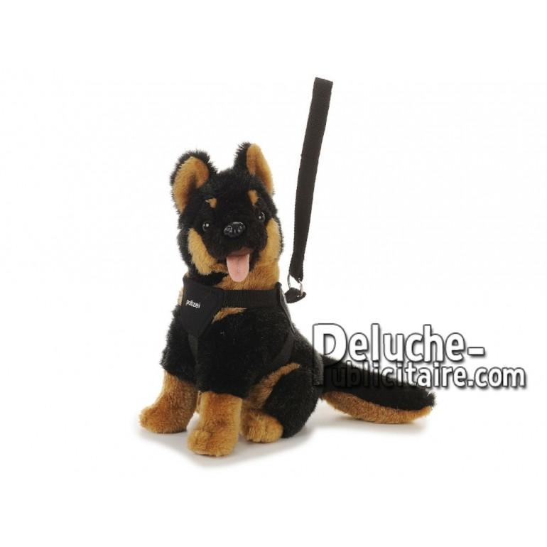 Achat peluche chien police assis marron 33cm. Peluche personnalisée.