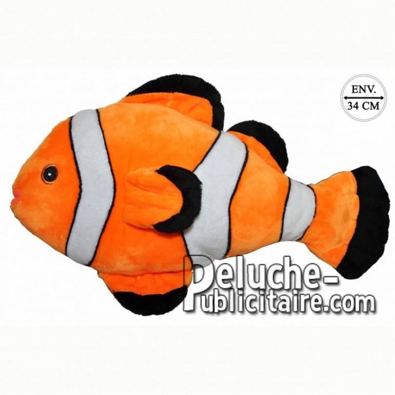 Achat peluche poisson rayé orange 34cm. Peluche personnalisée.