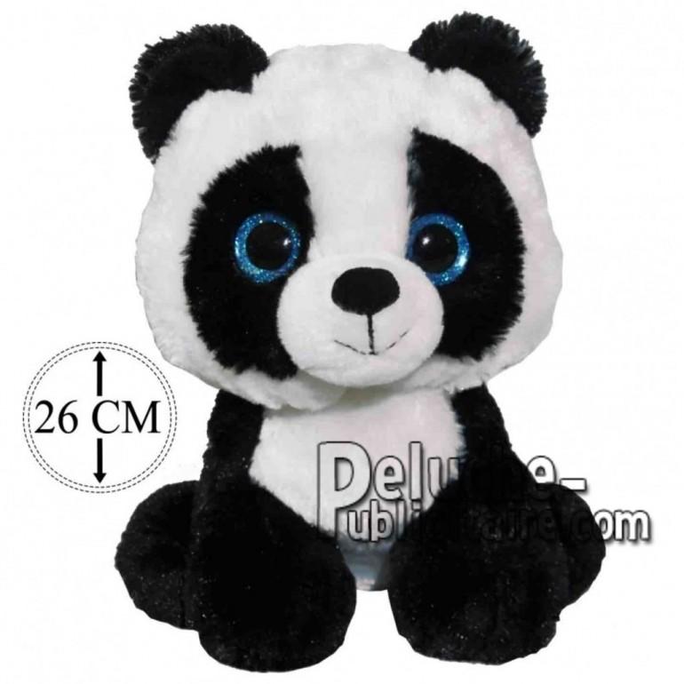 Achat peluche panda noir 26cm. Peluche personnalisée.