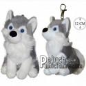 Achat porte-clés husky gris 12cm. Peluche personnalisée.