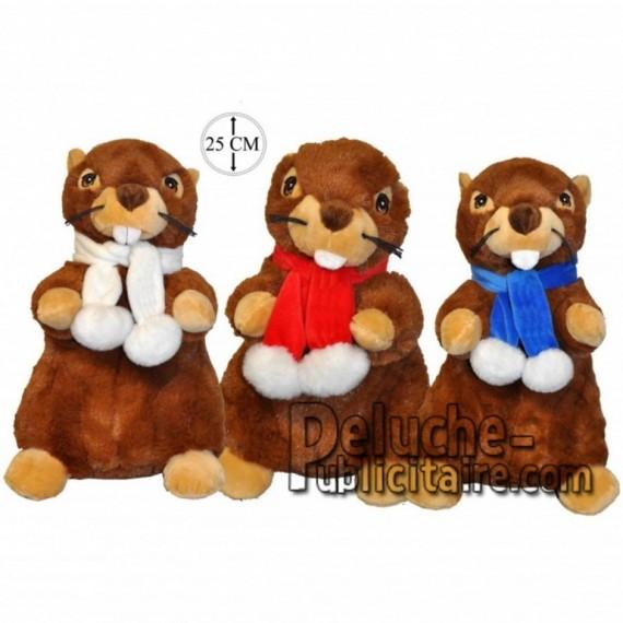 Achat peluche marmottes avec écharpe marron 25cm. Peluche personnalisée.