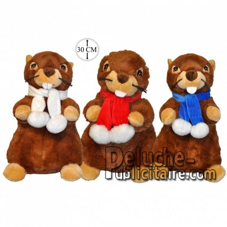 Achat peluche marmottes avec écharpe marron 30cm. Peluche personnalisée.