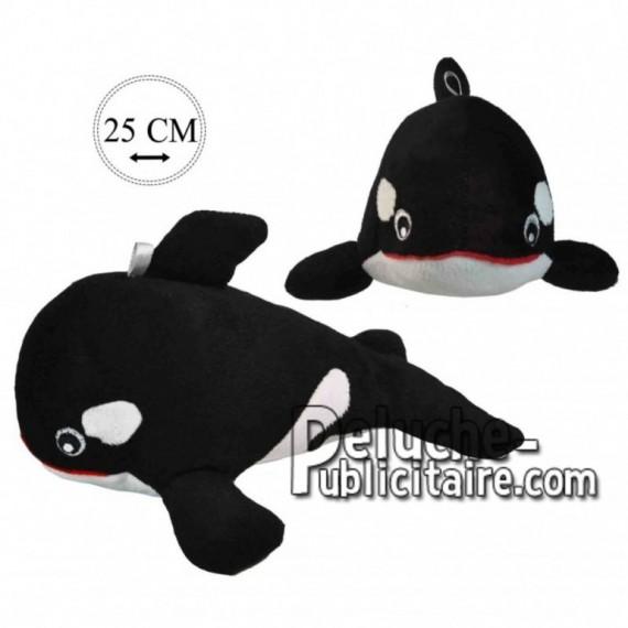 Achat peluche orque noir 25cm. Peluche personnalisée.