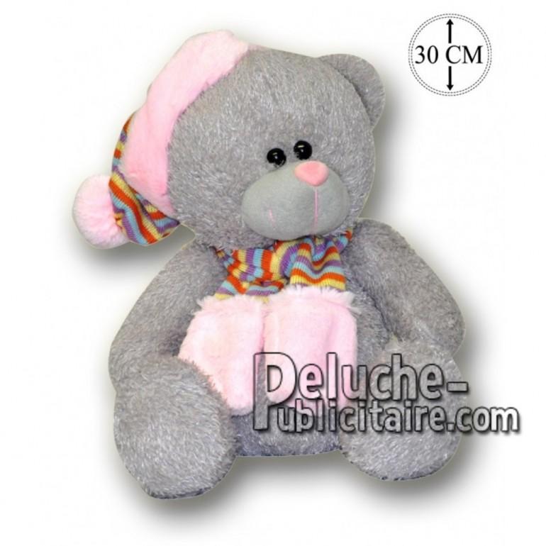 Achat peluche ours avec bonnet gris 30cm. Peluche personnalisée.