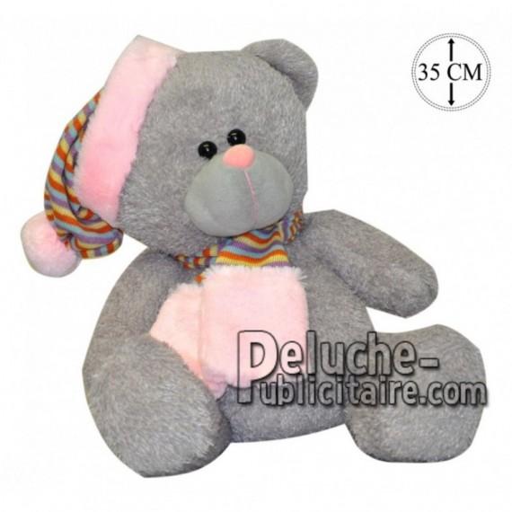 Achat peluche ours avec bonnet gris 35cm. Peluche personnalisée.