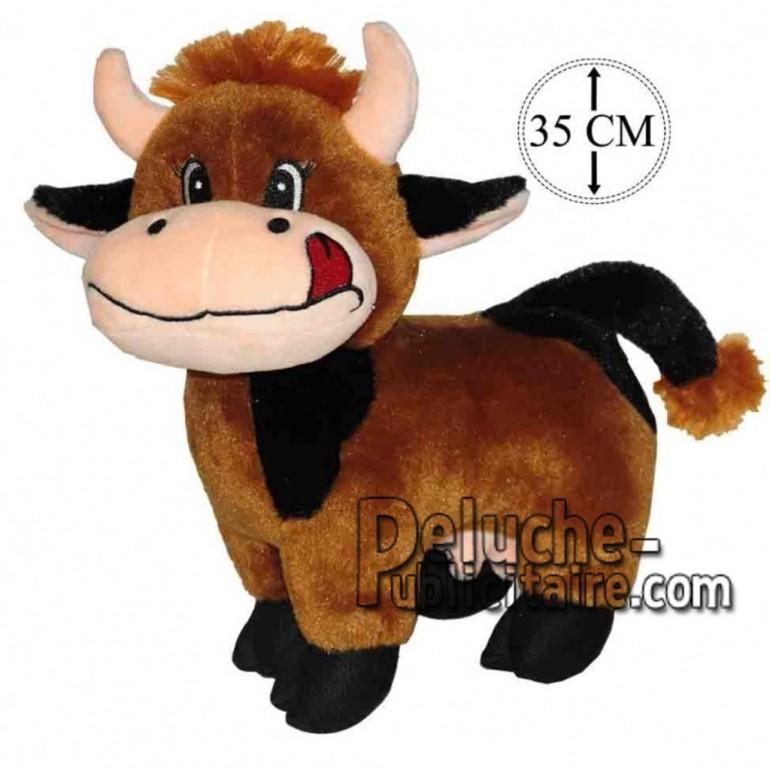 Achat peluche vache debout marron 35cm. Peluche personnalisée.