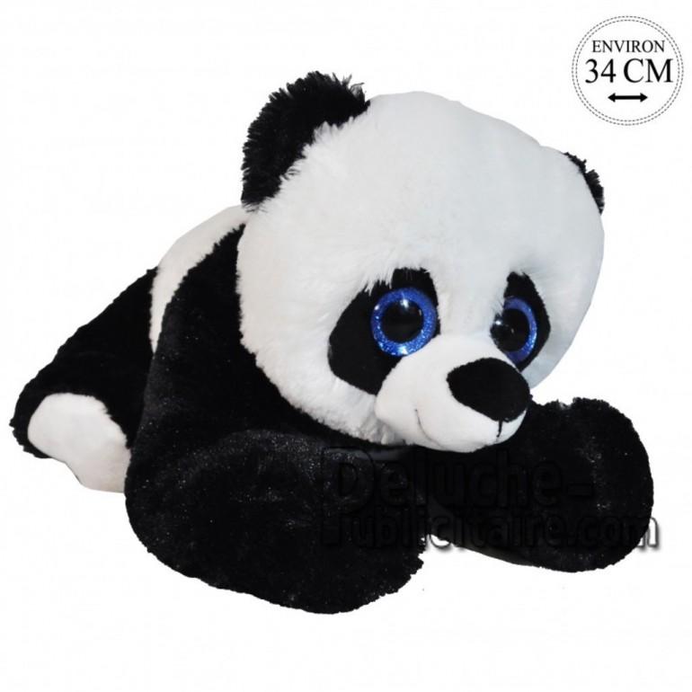 Achat peluche panda couché noir 34cm. Peluche personnalisée.