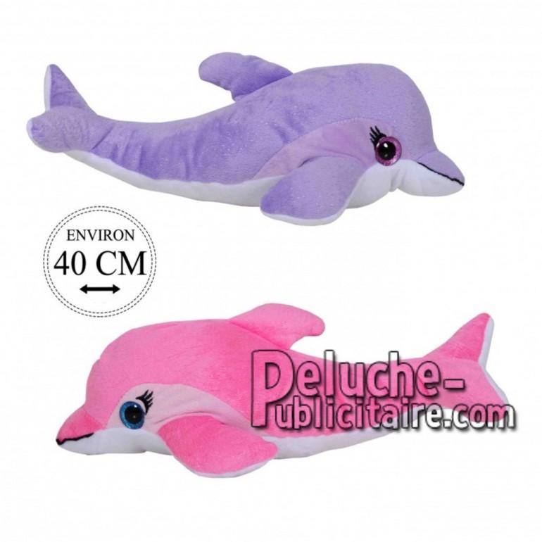 Achat peluche dauphins paillettes violet 40cm. Peluche personnalisée.