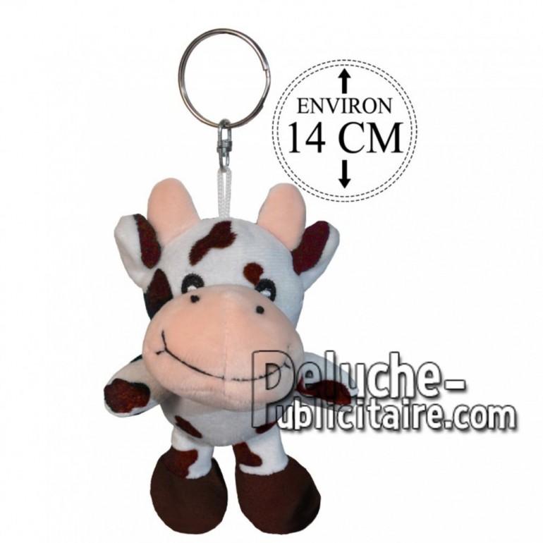 Achat porte-clés vache marron 14cm. Peluche personnalisée.