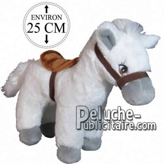 Achat peluche cheval avec selle blanc 25cm. Peluche personnalisée.