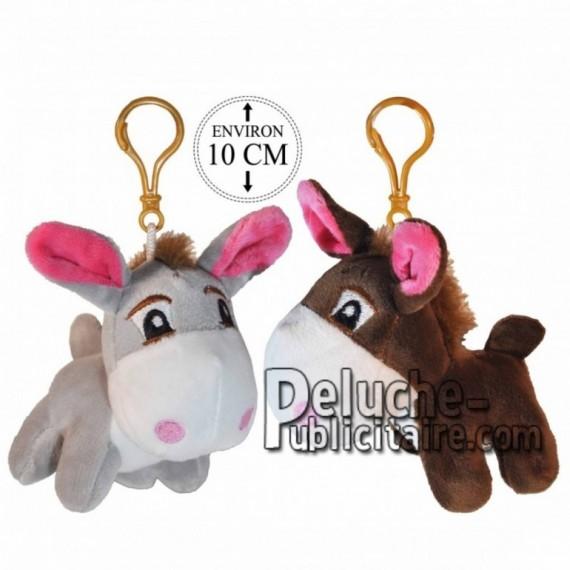 Achat porte-clés ânes gris 10cm. Peluche personnalisée.