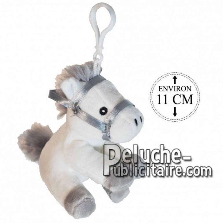 Achat porte-clés cheval avec selle blanc 11cm. Peluche personnalisée.